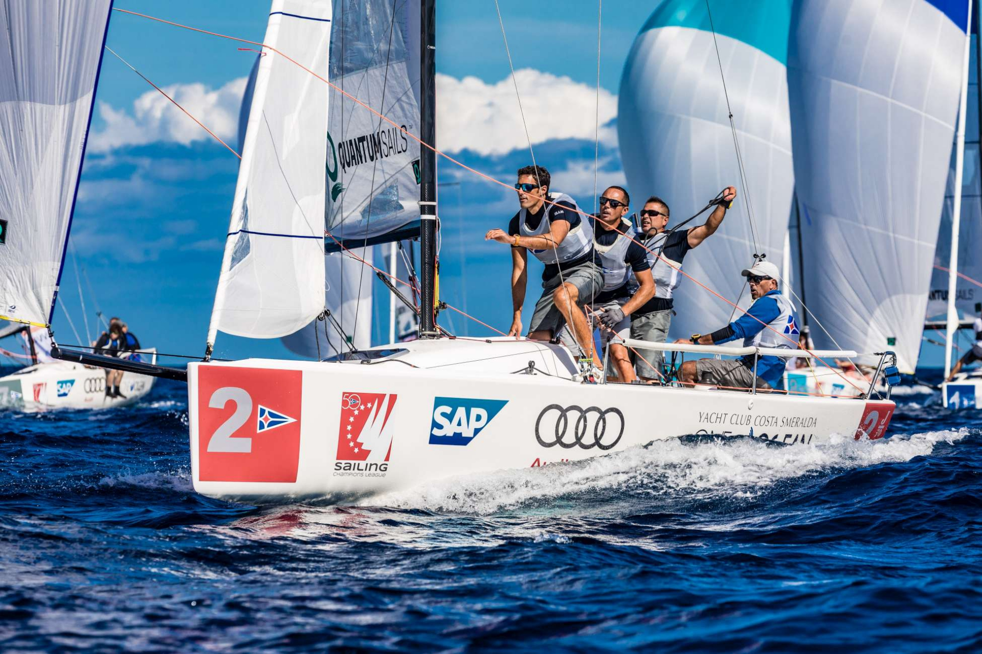 Fair winds on first day of Audi SAILING Champions League Final - NEWS - Yacht Club Costa Smeralda